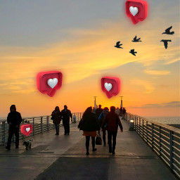freetoedit loveisintheair heartemojis sunset silhouettes srclikebubble