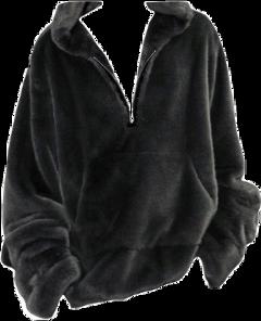 fluffy jacket sweatshirt sweater black freetoedit