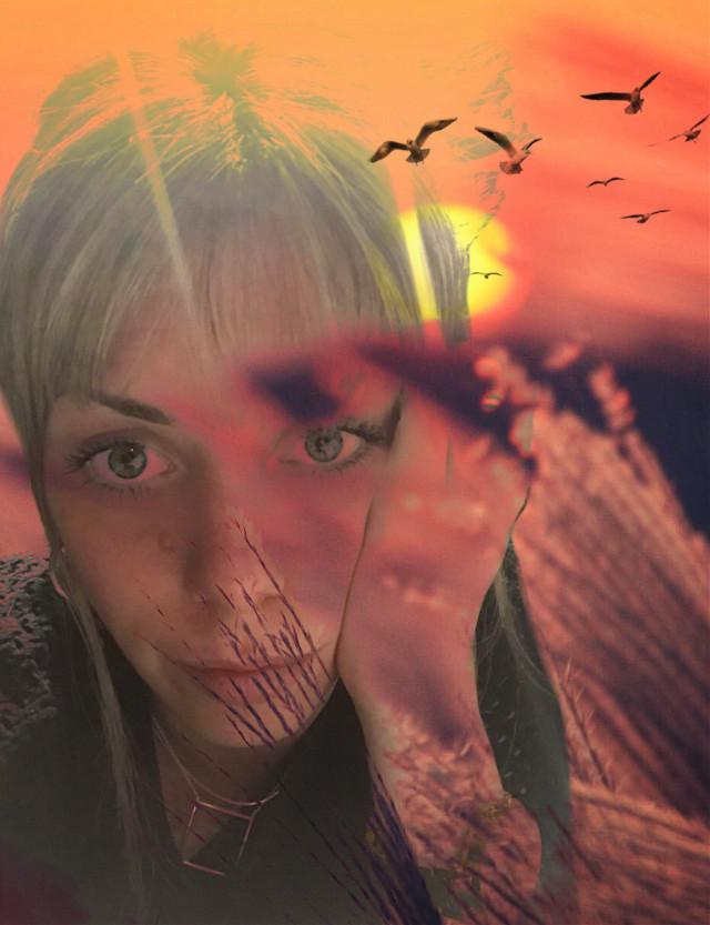 #freetoedit #women #colors #sky #aves #free #espacio #naturaleza #pintura #plantas #arboles #face #rostro