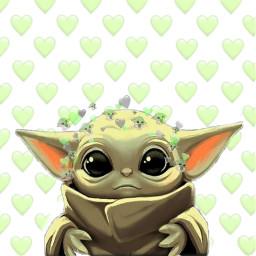 freetoedit babyyoda cute green hearts