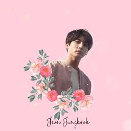 freetoedit jeonjungkook pink flower efect