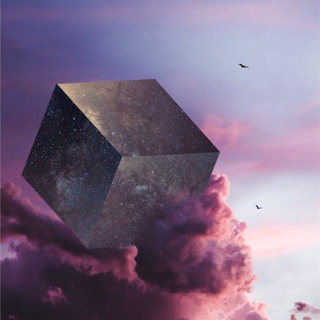 Wonder in cotton candy skies✨   #edit #art #sky #stars #cube #birds #galaxy #clouds #irccottoncandyskies #cottoncandyskies #freetoedit