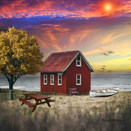 sunsetsky sunset digitalart picsart lakeside freetoedit