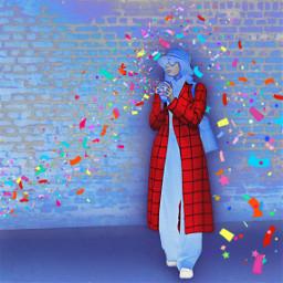 freetoedit woman confettibrush coat colorful