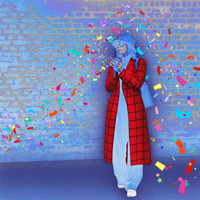 #freetoedit #woman #confettibrush #coat #colorful