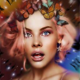 remixed girl butterflies freetoedit