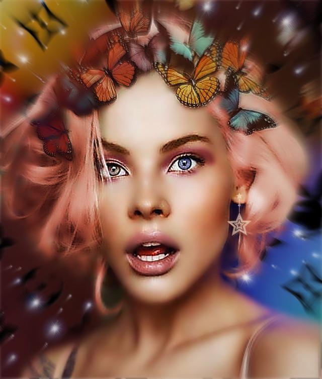 #remixed #girl #butterflies #
