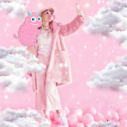 freetoedit littlemonster pink clouds sparklemask