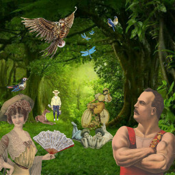 garden surreal strongman picnic steampunk freetoedit