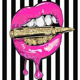 pink glitter lips drip bullet