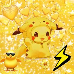 freetoedit yellow drawi14 picachu
