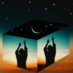 freetoedit 3dart 3d night foldinglandscape ircdancinginthemoonlight silhouette