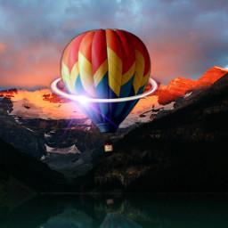 freetoedit airballoon madewithpicsart neon neonart