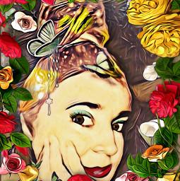 freetoedit woman womansface flowerframe lookingatyou