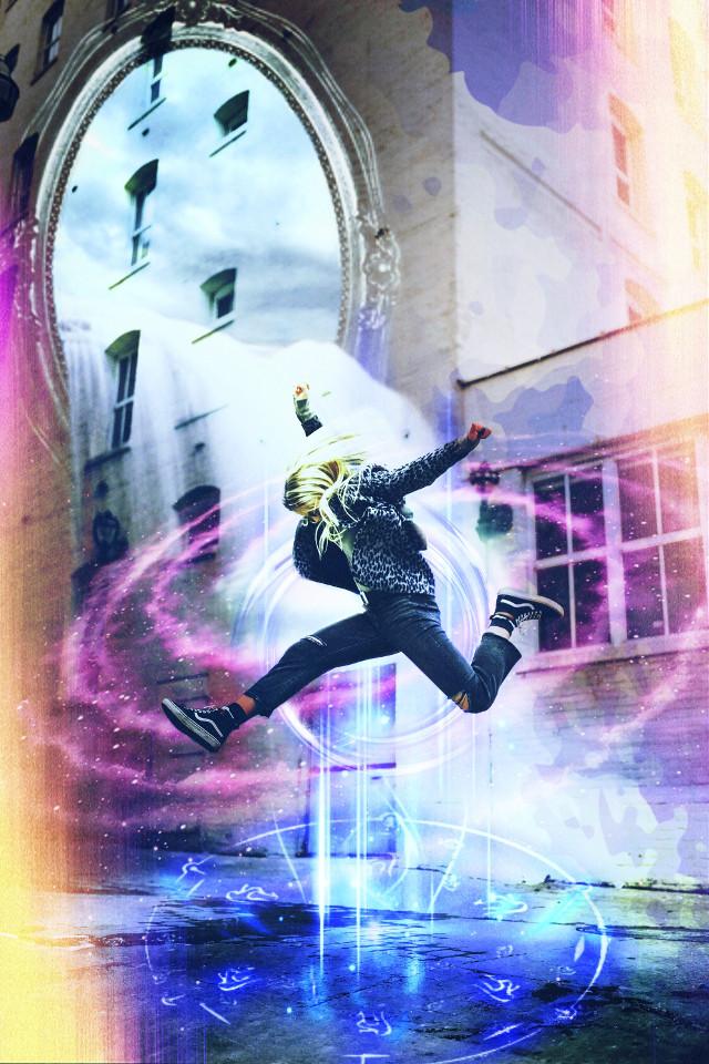 #freetoedit #space #colors #luz #brillos #espejo #salto #saltando #mujer #fly #deporte #edificio #luces #rayos #futurista