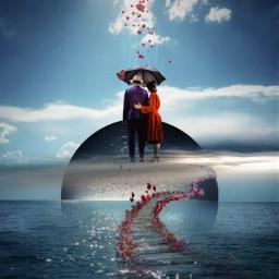 vipshoutout surreal ocean couple redandblue freetoedit