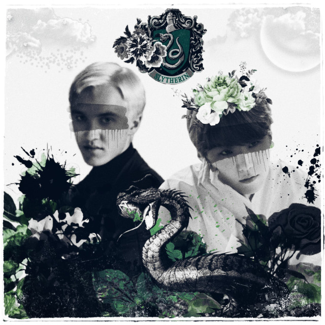 #freetoedit Made for a friend #bts #yoongi #suga #draco #malfoy #harrypotter #kpop #slytherin