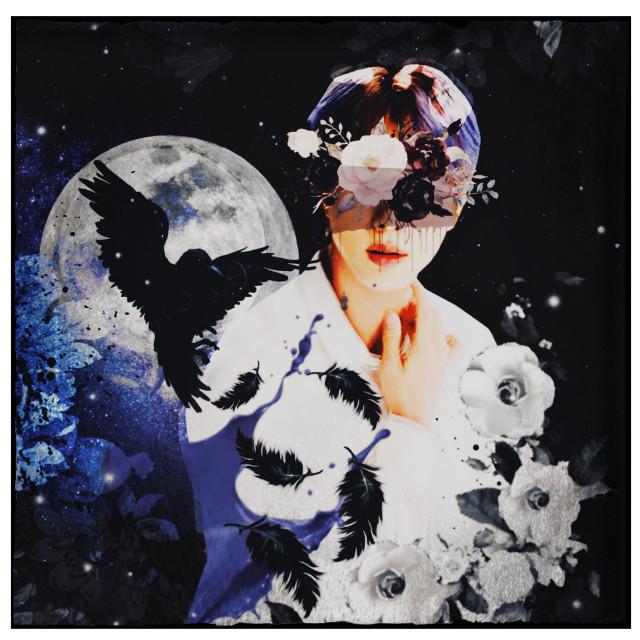 #freetoedit #jin #bts #kimseokjin #kpop #night #space #moon #sky #raven #bird