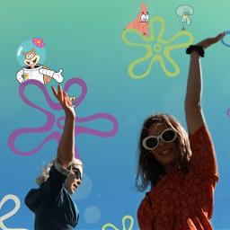freetoedit spongebob gary sandy squidward ircsoakingupthesun soakingupthesun