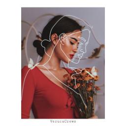 freetoedit portrait sketcher outline flowers