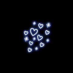 heart neon glowing neonlight blue freetoedit