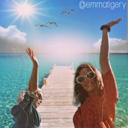 freetoedit girls challenge sea ocean sun happy beach sunlight edit summer holidays smiling