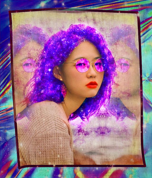 #freetoedit #galaxybrush #galaxyhair #frame #holographic #holographicframes #mirroreffect