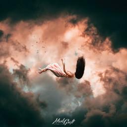 freetoedit woman falling birds clouds
