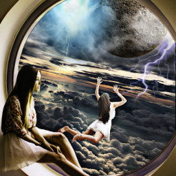 freetoedit windowview sky girls planet