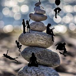 freetoedit stones silhouettes sport yoga
