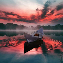 fantasyart sunset paperboat watereffect mycreation freetoedit