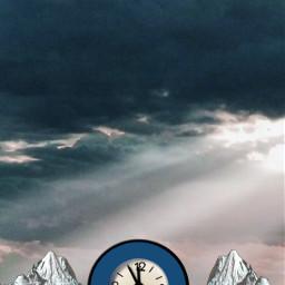 freetoedit sky clock water backgroundstickers