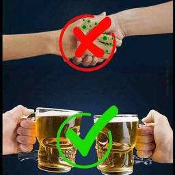 coronavirus beer handshake freetoedit