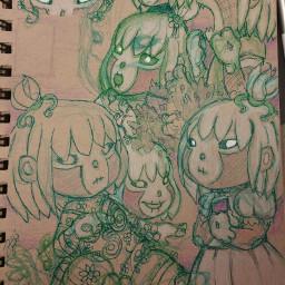 pudding girl drawing art character freetoedit