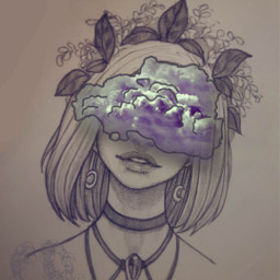 freetoedit draw girl gray pd srcheadintheclouds headintheclouds
