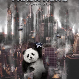 freetoedit panda destruction city fire ecgiantanimals giantanimals