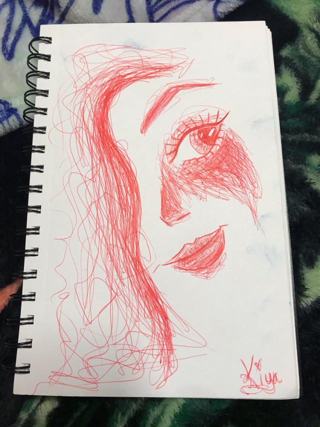 Here's a little pen work❤️❤️❤️ #redink #sketch