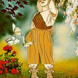 freetoedit lineart girl flower garden irclineart