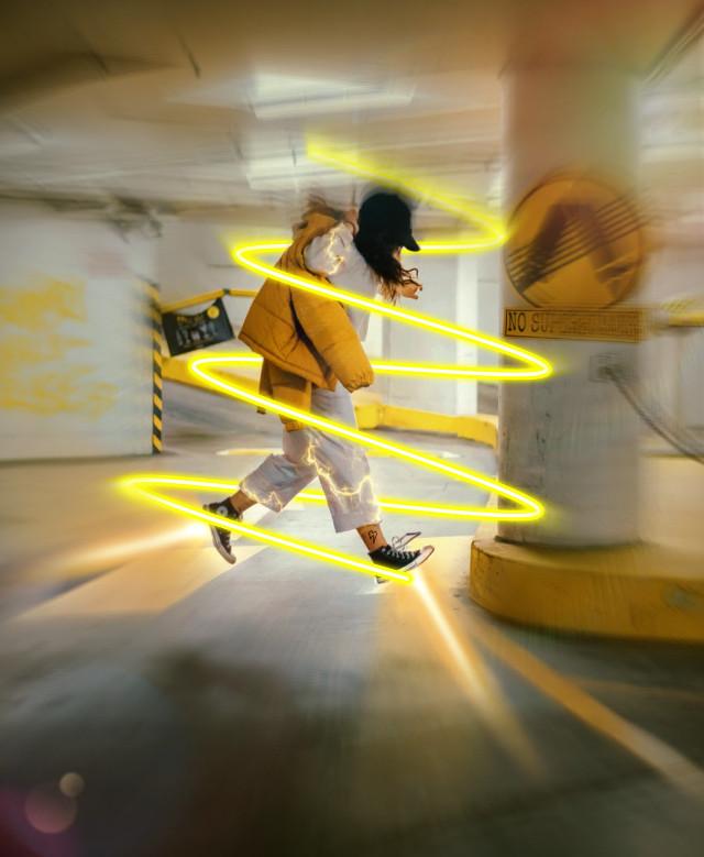 #freetoedit #spiral #neon #yellow #moving #editedbyme #picsart