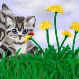 freetoedit springtime kitten dandelions ladybug dcwelcomingspring welcomingspring spring