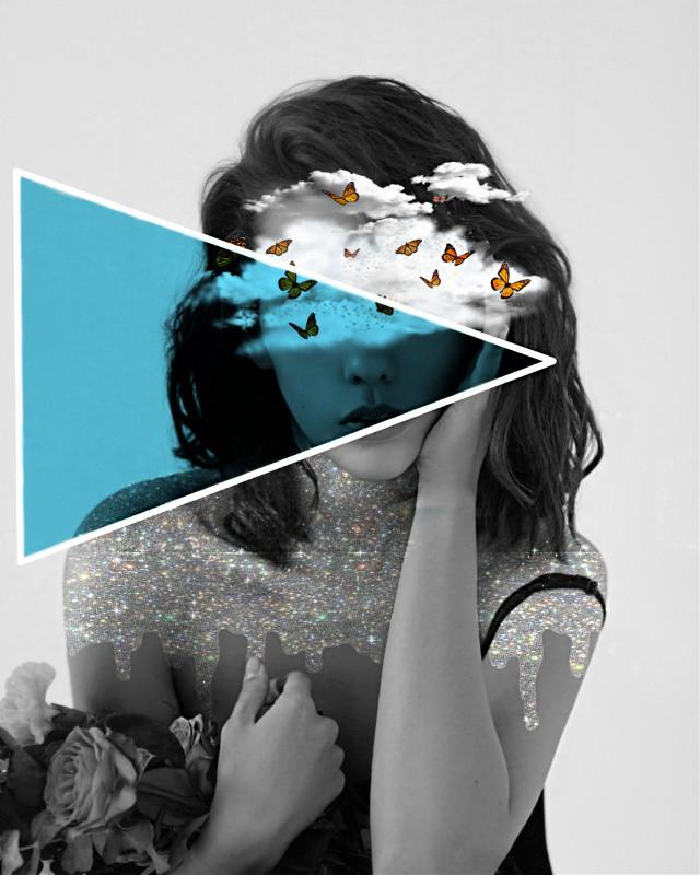 #freetoedit #portrait #girl #aesthetic #blackandwhite #photography #clouds #butterflies