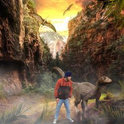 freetoedit alam pemandangan gunung dinosaurs