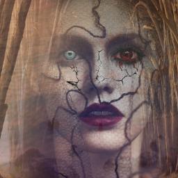 freetoedit woman blue red eyes