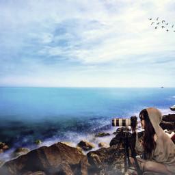 freetoedit pantai longbeach laut alam