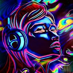 freetoedit neonart 3d wallpaper woman