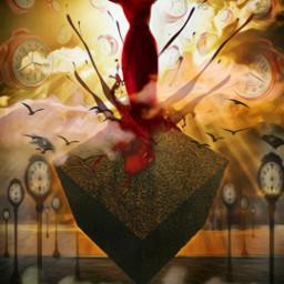 surreal woman reddress freetoedit time