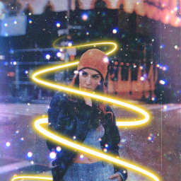 freetoedit myedit neonspiral girl galaxy
