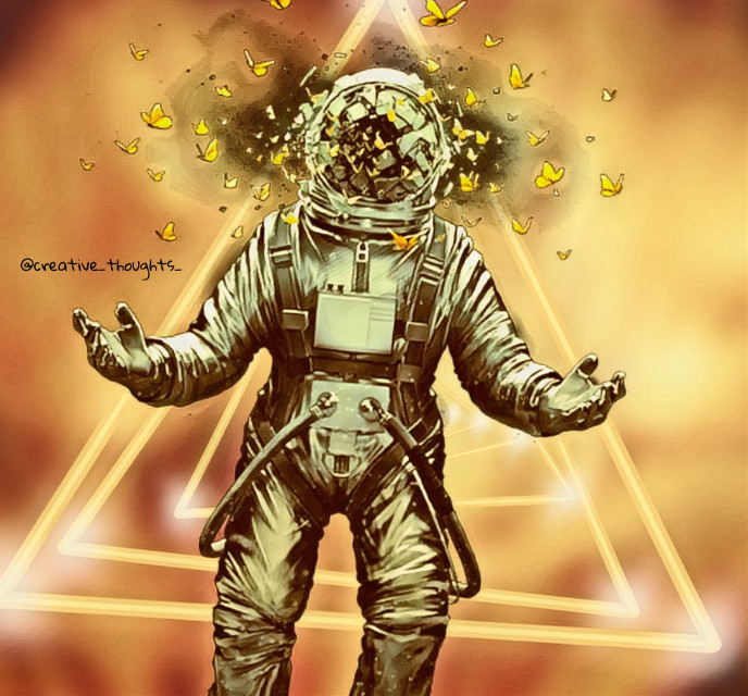 Train your mind to stay calm in every situation #freetoedit #astronaut #butterflies #triangle #neon #yellow #background