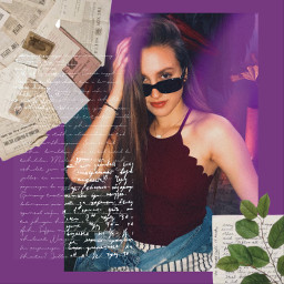 freetoedit aesthetic purple leaves layered