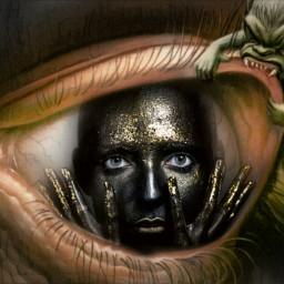 eye monster fear freetoedit darkness